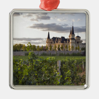 Winery building seen from the vineyard at metal ornament