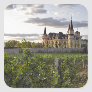 Winery building seen from the vineyard at square sticker