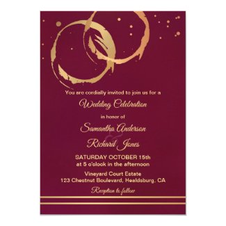 Winery Burgundy Marsala Gold Wedding Invitation