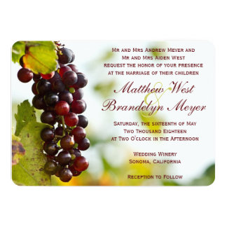 Winery Grapes Vineyard Wedding Invitations