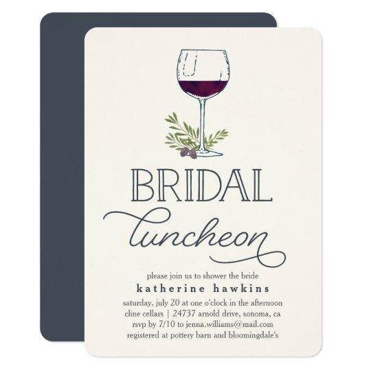 Winery Or Wine Tasting Bridal Luncheon Invitation