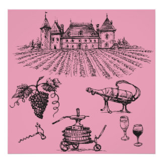 Winery Sketch Posters