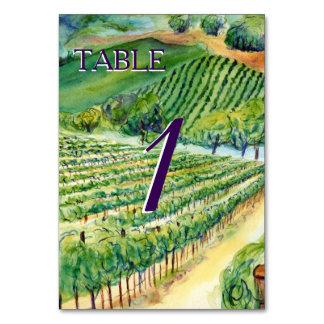 Winery Vineyard Custom Wine Table Card Numbers