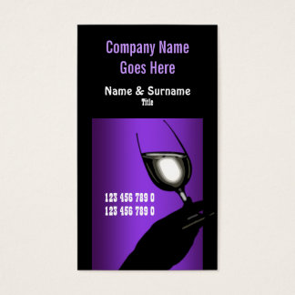 Winery vineyard wine purple black white business card