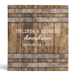 Winery Wedding Album | Rustic Wooden Barrel Binder