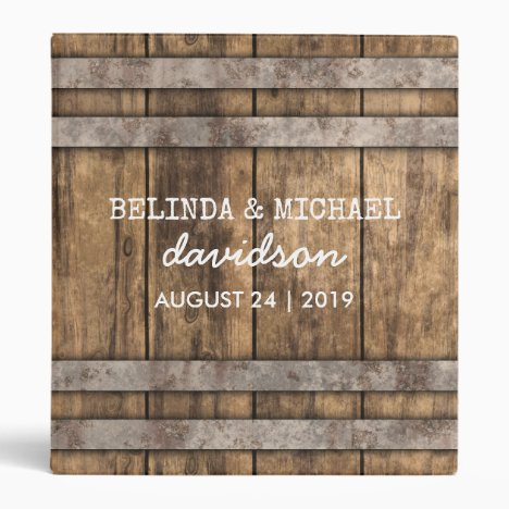 Winery Wedding Album | Rustic Wooden Barrel Binder