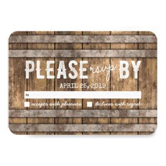 Winery Wedding rsvp Card | Rustic Wooden Barrel