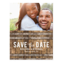 Winery Wedding Save the Date Rustic Wooden Barrel Postcards