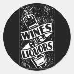 Wines & Liquors Ad Black Classic Round Sticker