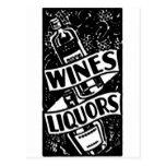 Wines & Liquors Ad Black Postcard