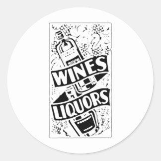 Wines & Liquors Retro Style Advert Classic Round Sticker