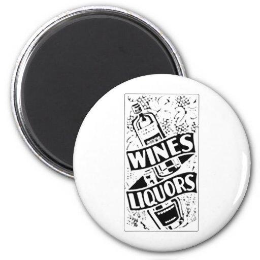 Wines & Liquors White 2 Inch Round Magnet