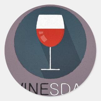 Winesday Classic Round Sticker