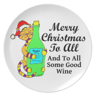 """Winey Cat Christmas """"...And To All Some Good Wine"""" Melamine Plate"""