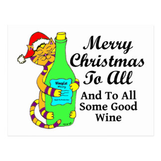"Winey Cat Christmas ""...And To All Some Good Wine"" Postcard"