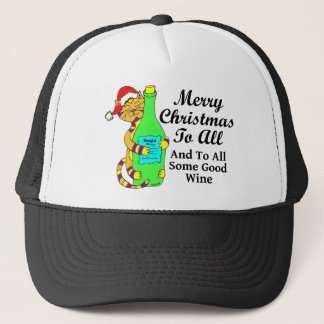"""Winey Cat Christmas """"...And To All Some Good Wine"""" Trucker Hat"""
