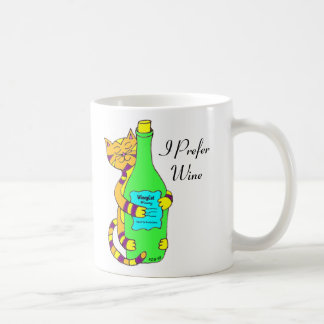 "Winey Cat, ""I Prefer Wine"" Coffee, Tea Or Wine Mug"