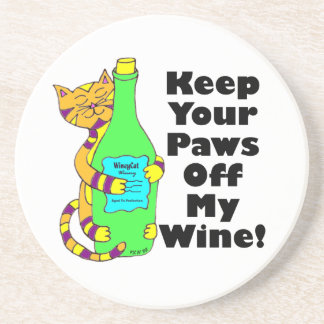 """Winey Cat """"Keep Your Paws Off My Wine"""" Coaster"""
