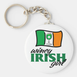 Winey Irish Girl Irish Flag Keychain