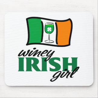 Winey Irish Girl Irish Flag Mouse Pad