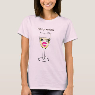 WINEY WOMAN WHITE WINE PRINT T-Shirt
