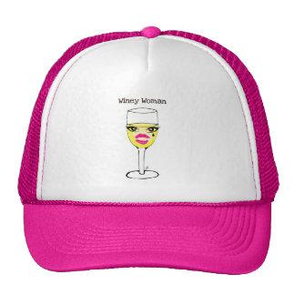 WINEY WOMAN WHITE WINE PRINT TRUCKER HAT