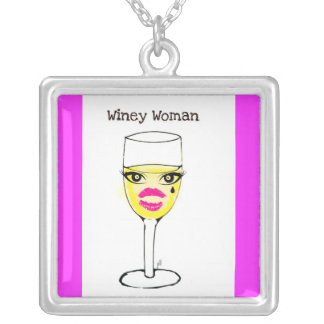 WINEY WOMAN WINE GLASS PRINT SILVER PLATED NECKLACE