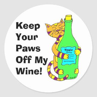 "WineyCat ""Keep Your Paws Off My Wine"" Classic Round Sticker"
