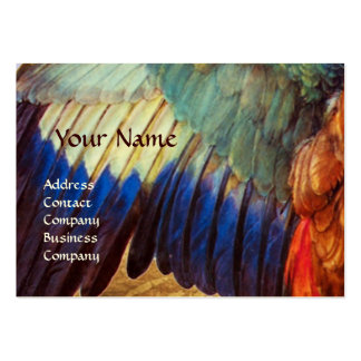 WING FEATHERS OF A ROLLER  ON  ANTIQUE PARCHMENT BUSINESS CARD TEMPLATES