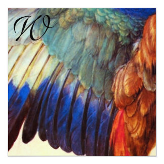 WING FEATHERS OF AN EUROPEAN ROLLER Monogram 5.25x5.25 Square Paper Invitation Card