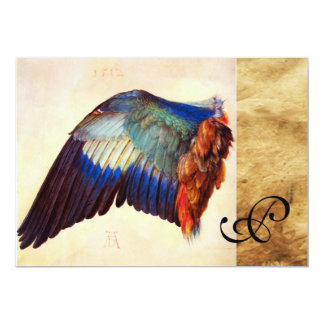 WING FEATHERS OF AN EUROPEAN ROLLER Parchment 5x7 Paper Invitation Card