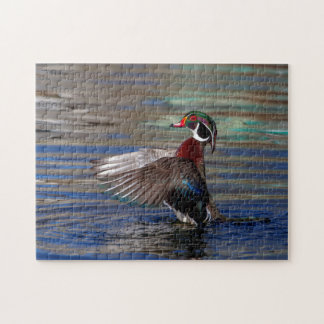 Wing Flapping Wood Duck Jigsaw Puzzle