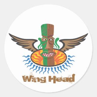 Wing Head Classic Round Sticker