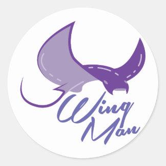 Wing Man Classic Round Sticker