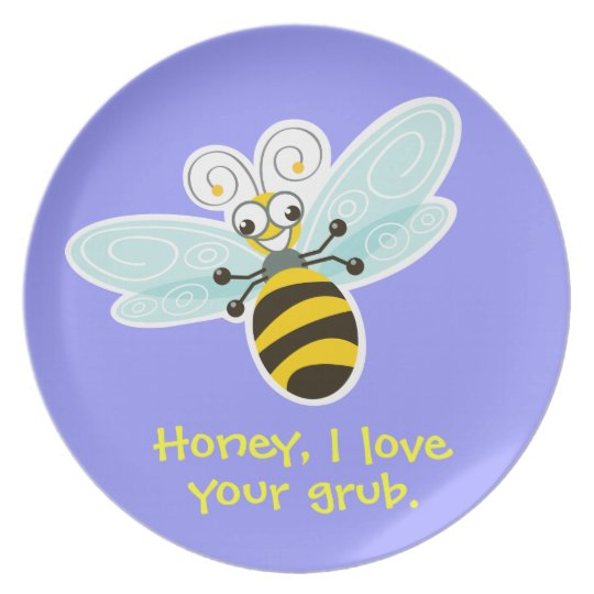 Wing-Nutz™_Bumble Bee (Buzz)_ I love your grub Dinner Plate