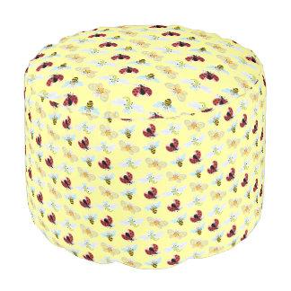 Wing-Nutz™_Fluttering Buddies_ pattern_lemon Round Pouf