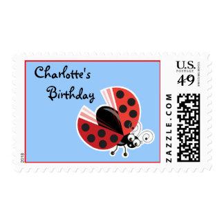 Wing-Nutz™_Ladybug (Dotty)_ personalized Birthday Postage Stamp