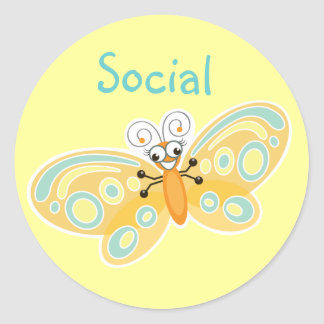 Wing-Nutz™_Social Butterfly (Beatrice)_ Sweet&Fun Classic Round Sticker