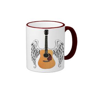 Winged Acoustic Guitar Ringer Mug