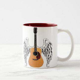 Winged Acoustic Guitar Two-Tone Coffee Mug