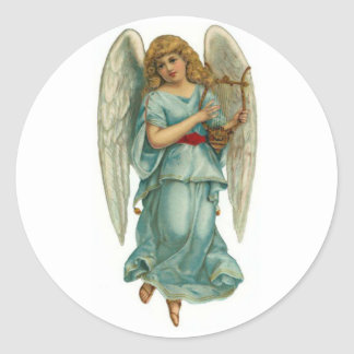 Winged Angel and Harp Classic Round Sticker