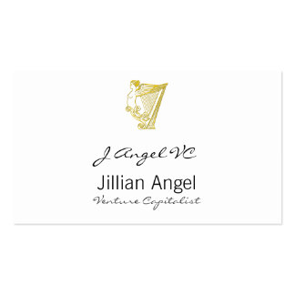 Winged Angel Harp Torso Ornament Business Card