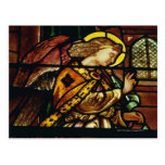 Winged angel in stained glass window postcard