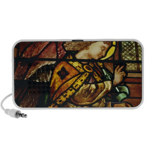 Winged angel in stained glass window speakers