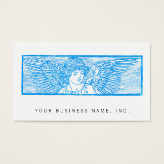 Winged Angel Ornament Letterpress Style Business Card