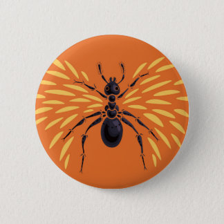 Winged Ant Fiery Orange Pinback Button