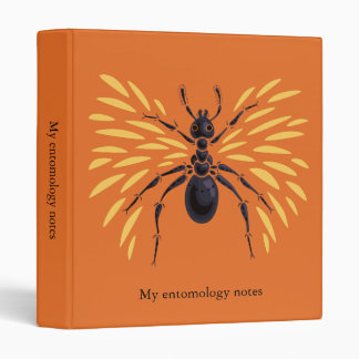 Winged Ant Insect Lover Fiery Orange Entomology 3 Ring Binder