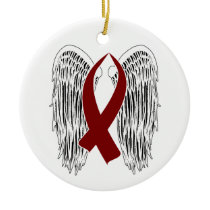 Winged Awareness Ribbon (Burgundy) Ceramic Ornament