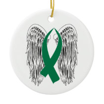 Winged Awareness Ribbon (Green) Ceramic Ornament