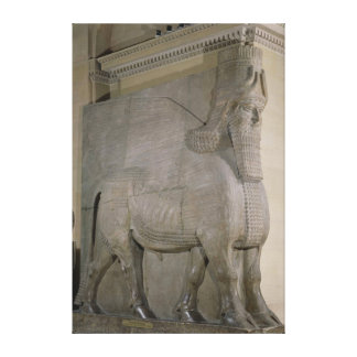 Winged bull at a facade of King Sargon II's Canvas Print